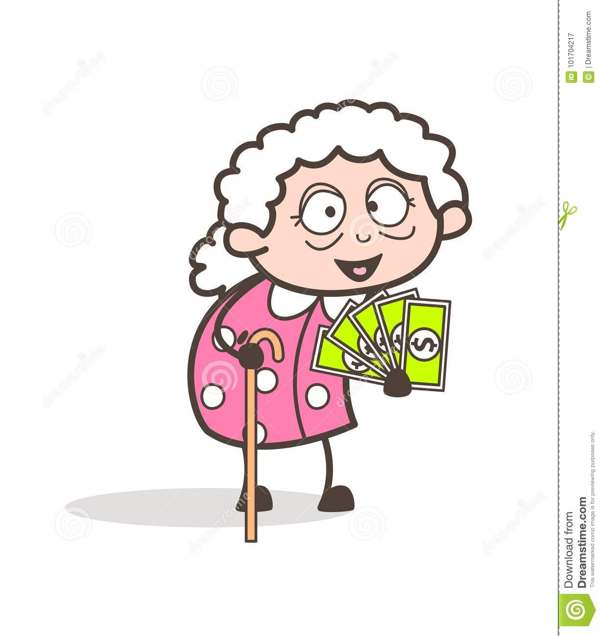 Cartoon Granny Showing Money Vector Illustration