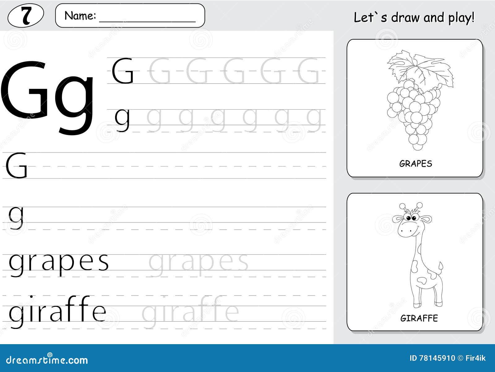 cartoon grapes and giraffe alphabet tracing worksheet writing
