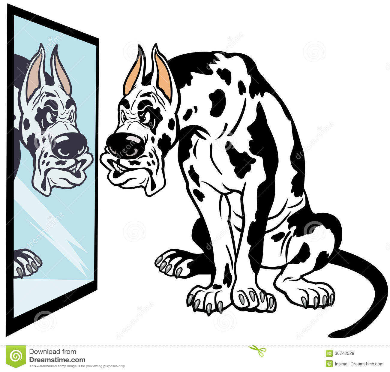 Cartoon dog looking in mirror,great dane breed,illustration isolated ...