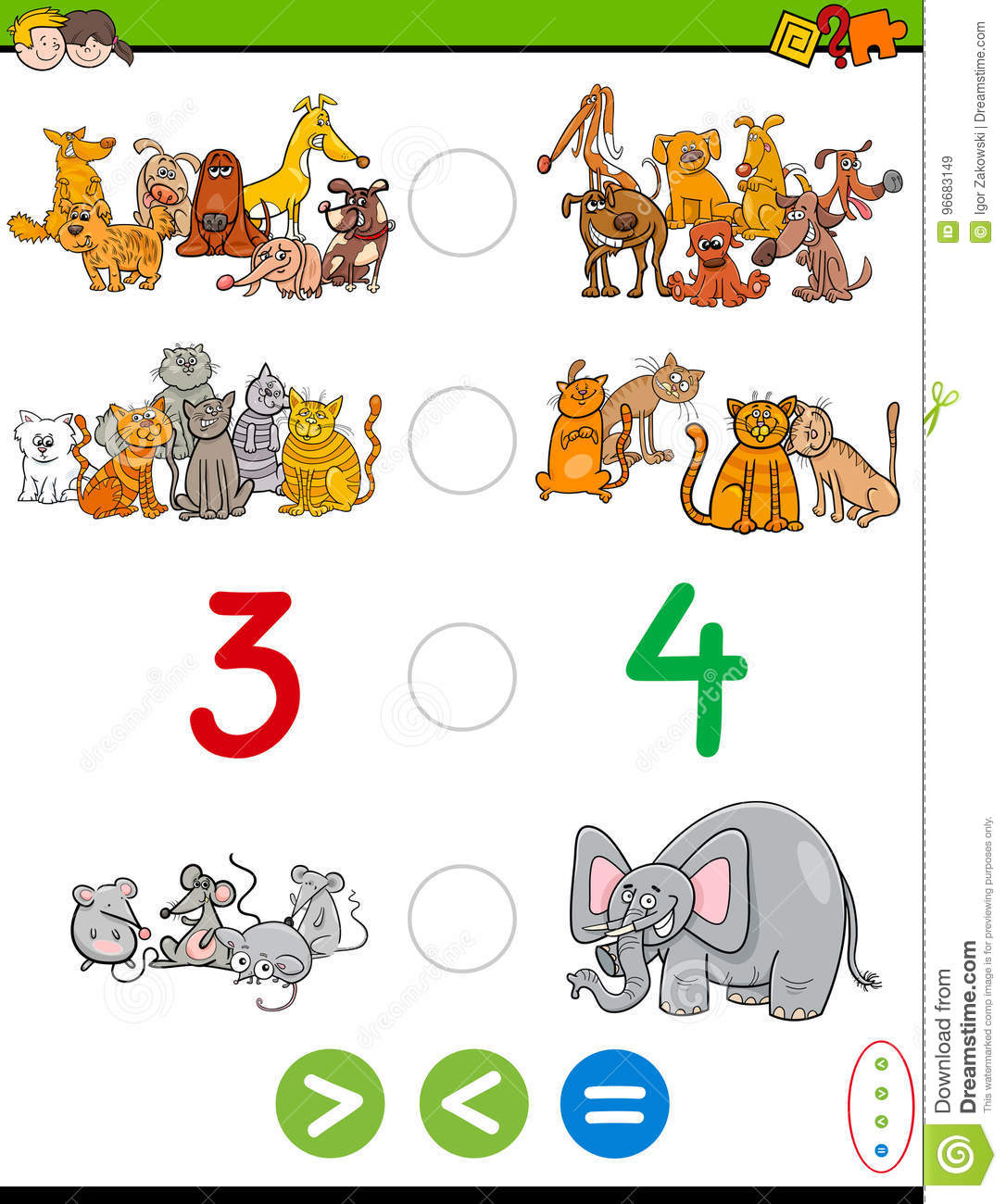 Cartoon Greater Less Or Equal Worksheet Stock Vector Illustration