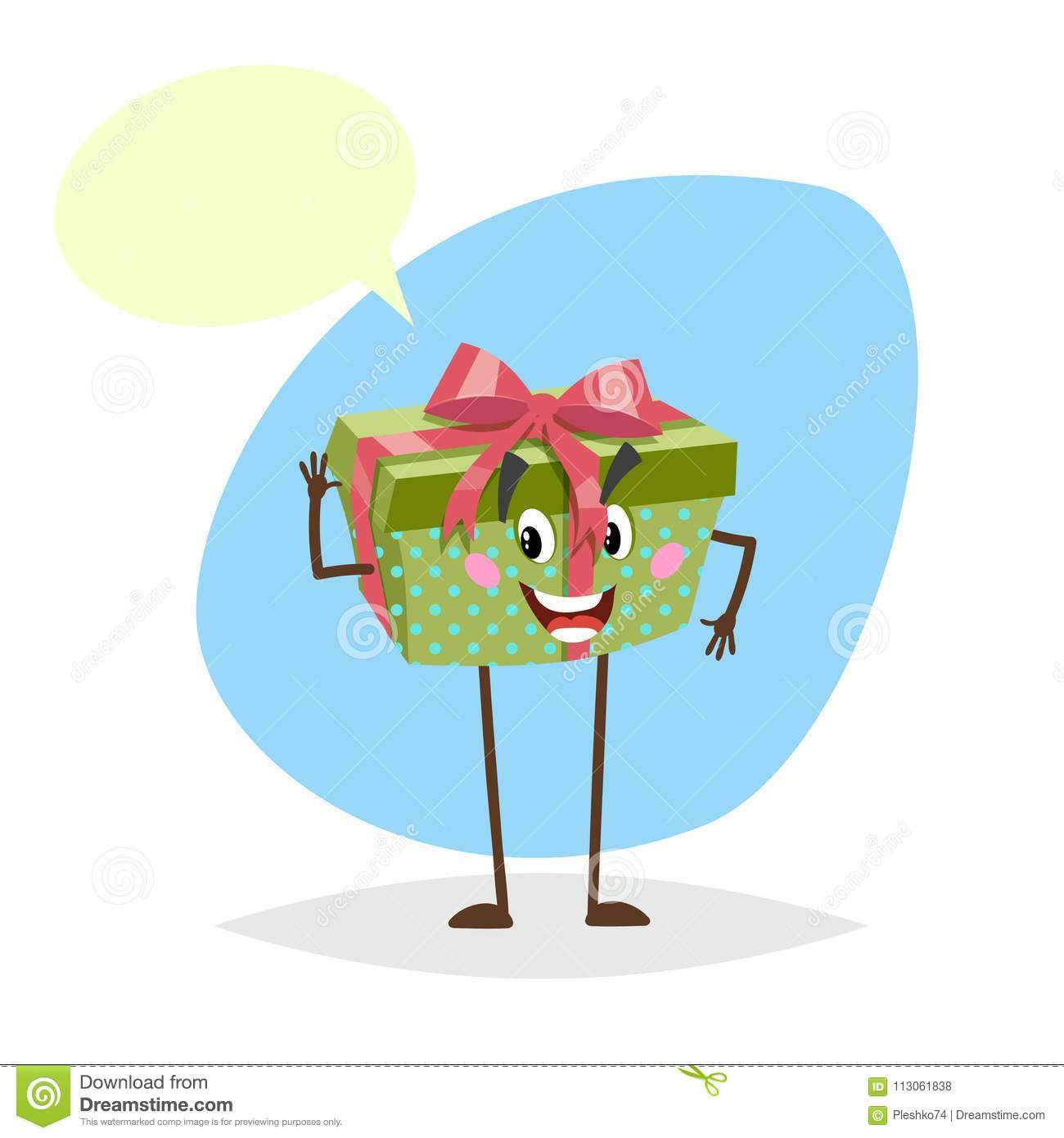 Cartoon Green Dotted Smiling Gift Box Character With Red Ribbon And