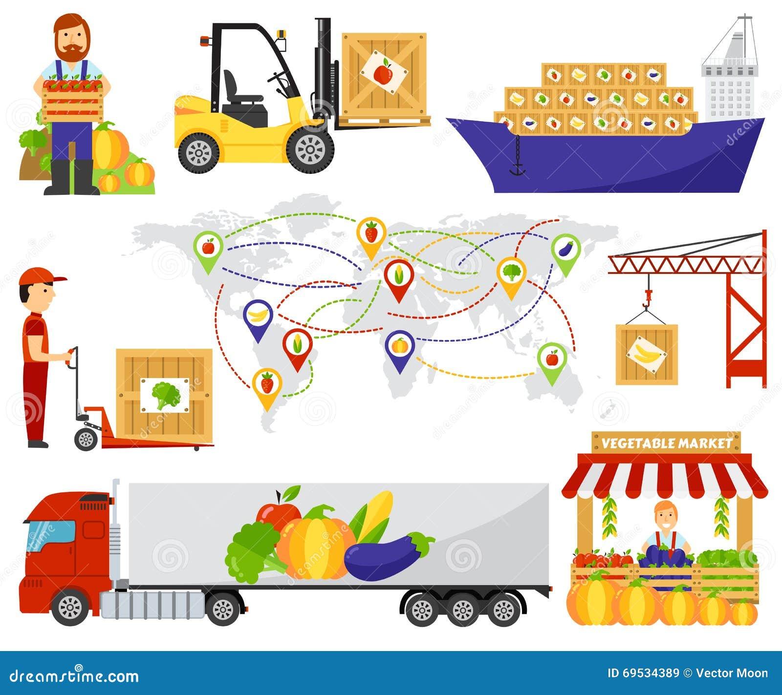cartoon green eco food fruits delivery truck vector