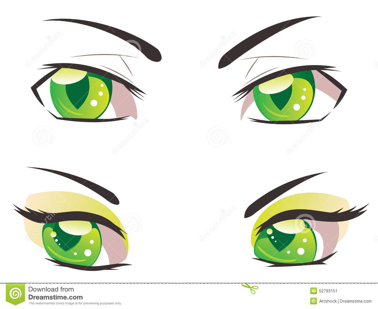 Cartoon Green Eyes Stock Vector - Image: 52793151