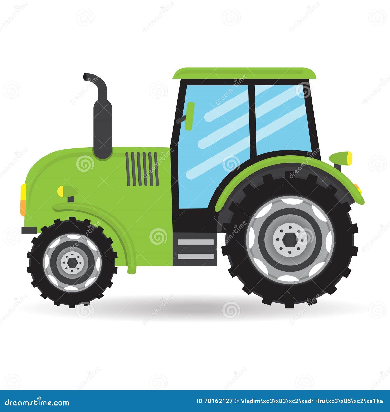 Cartoon Green Flat Vector Tractor Vehicle Farm Icon Stock Vector