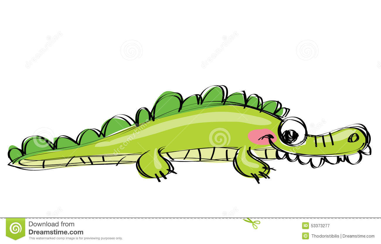 Cartoon Green Happy Crocodile With Funny Teeth As Children Drawi Stock