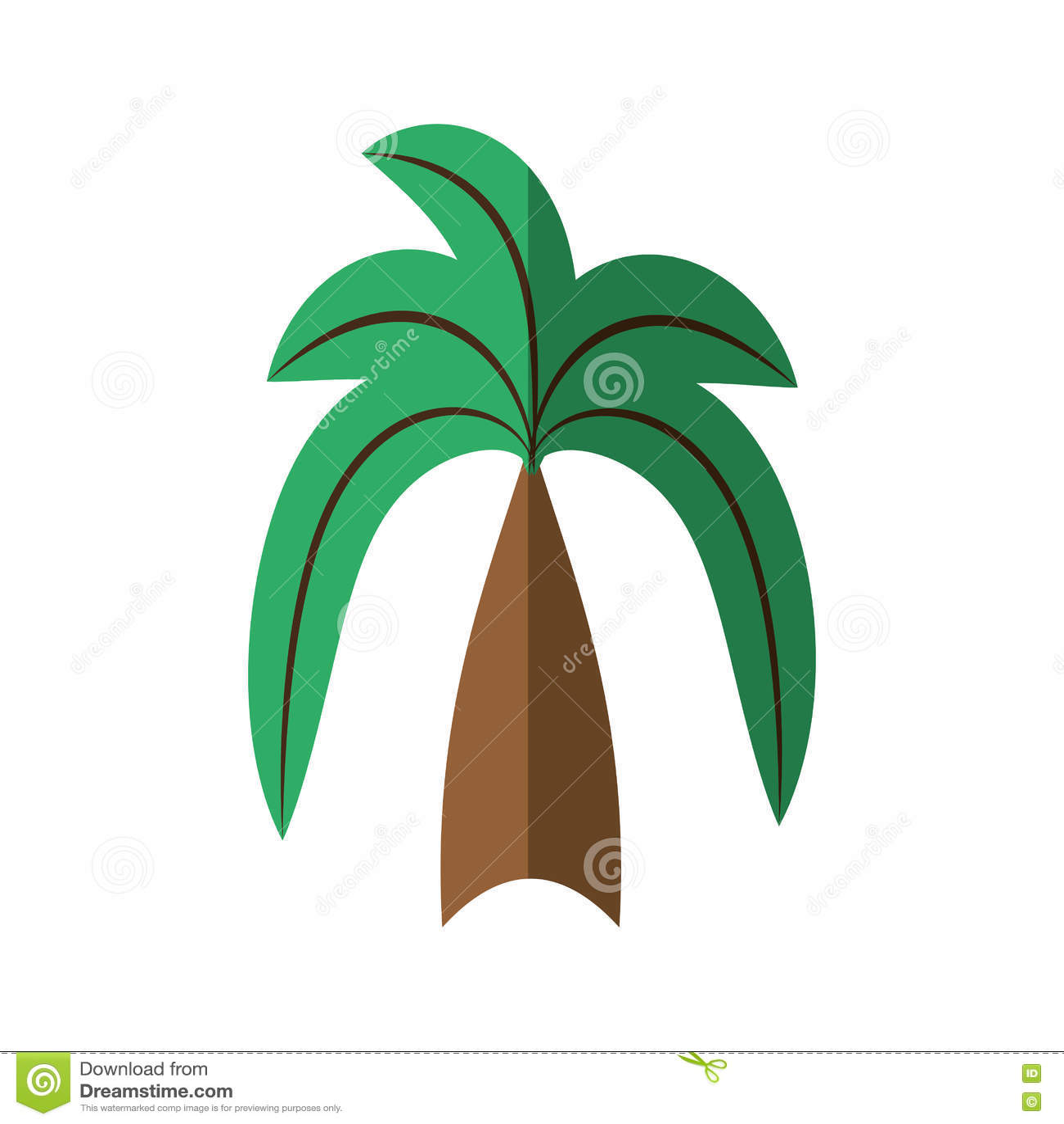 Download Cartoon Green Palm Coconut Beach Tree Stock Vector
