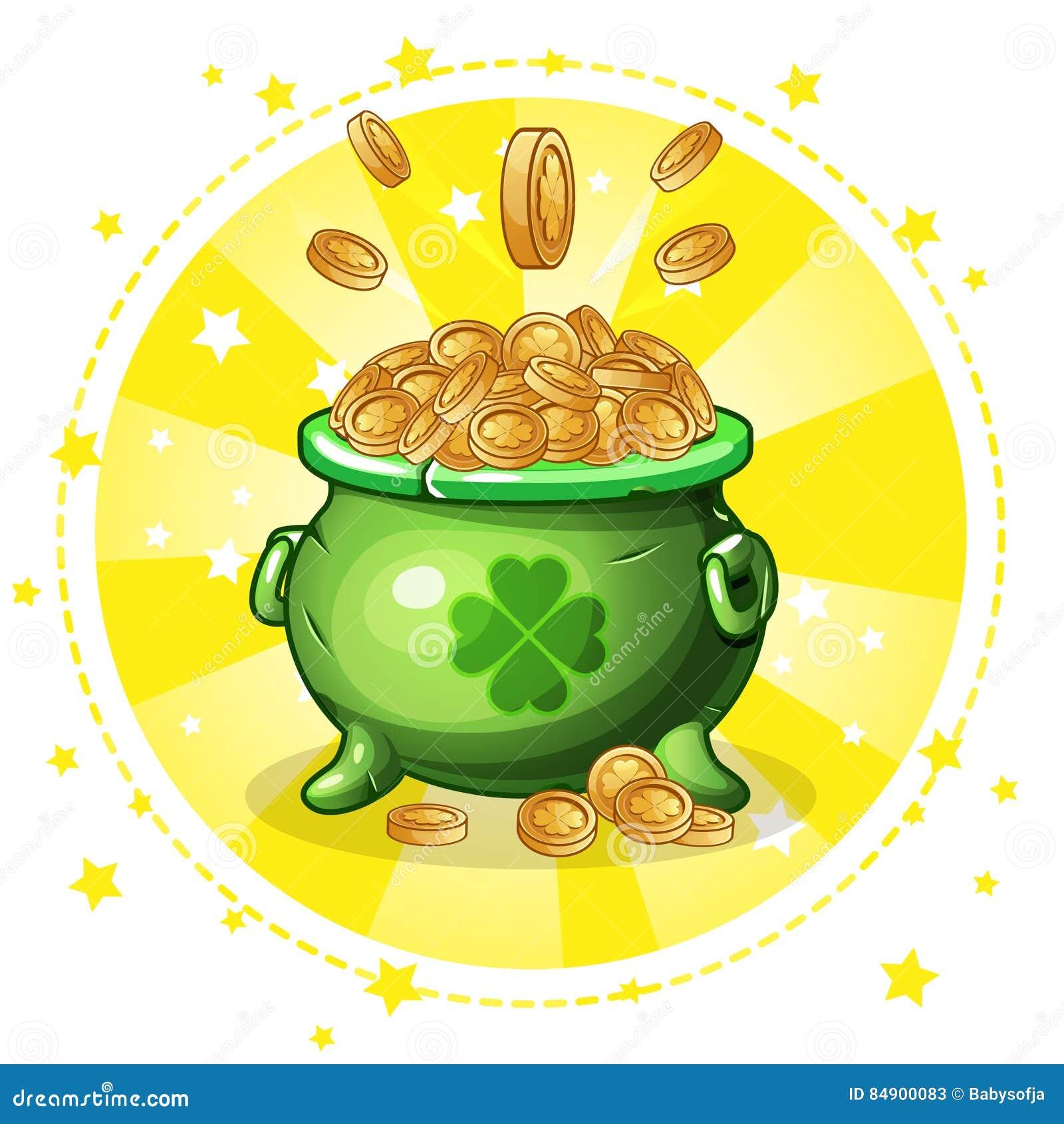 Cartoon Green Pot Of Gold Coins Stock Vector - Image: 84900083