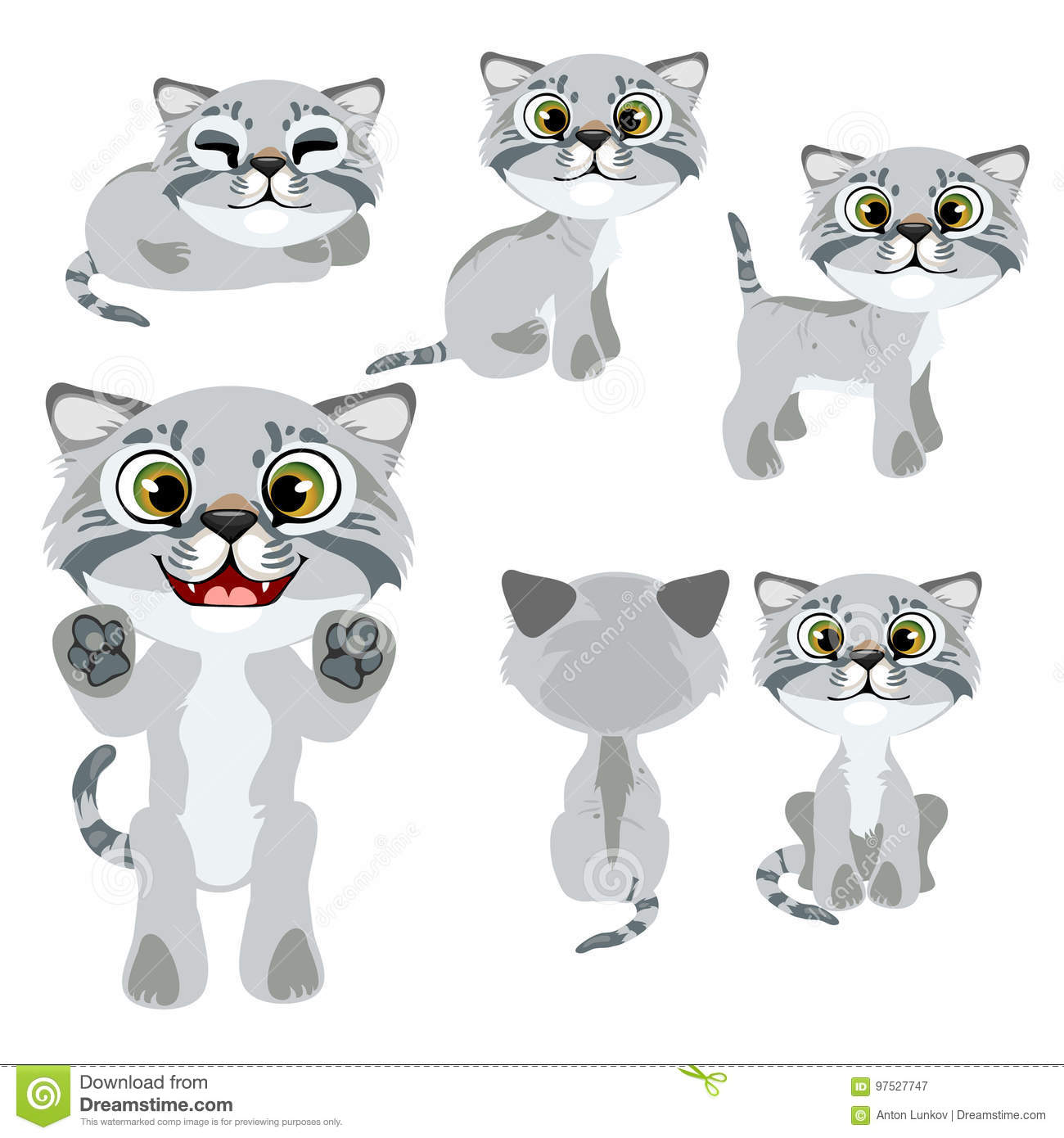 Cartoon Grey Kitten In Different Poses And Mood Stock Vector