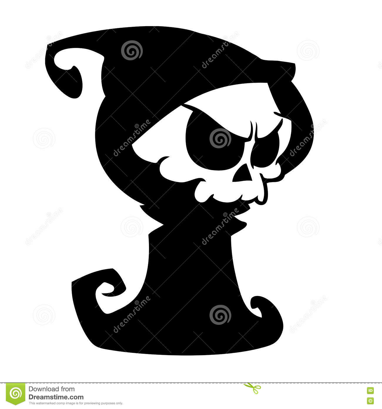 Black Hood Cartoon Characters : Cartoon grim reaper with scythe isolated on a white