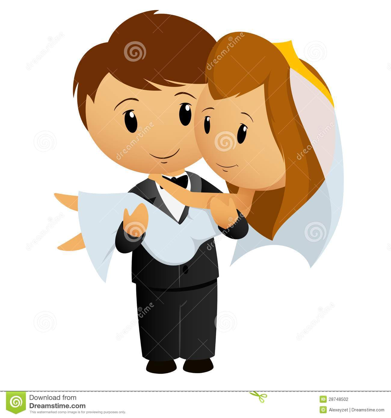 Cartoon Groom Carrying Bride Stock Photography - Image: 28748502