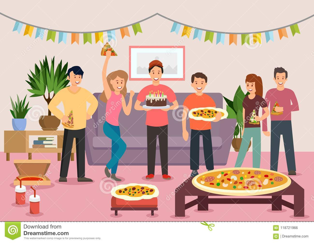Cartoon Group Of Cheerful People Eating Pizza At Birthday Party Celebration Vector Illustration Clipart Flat Style