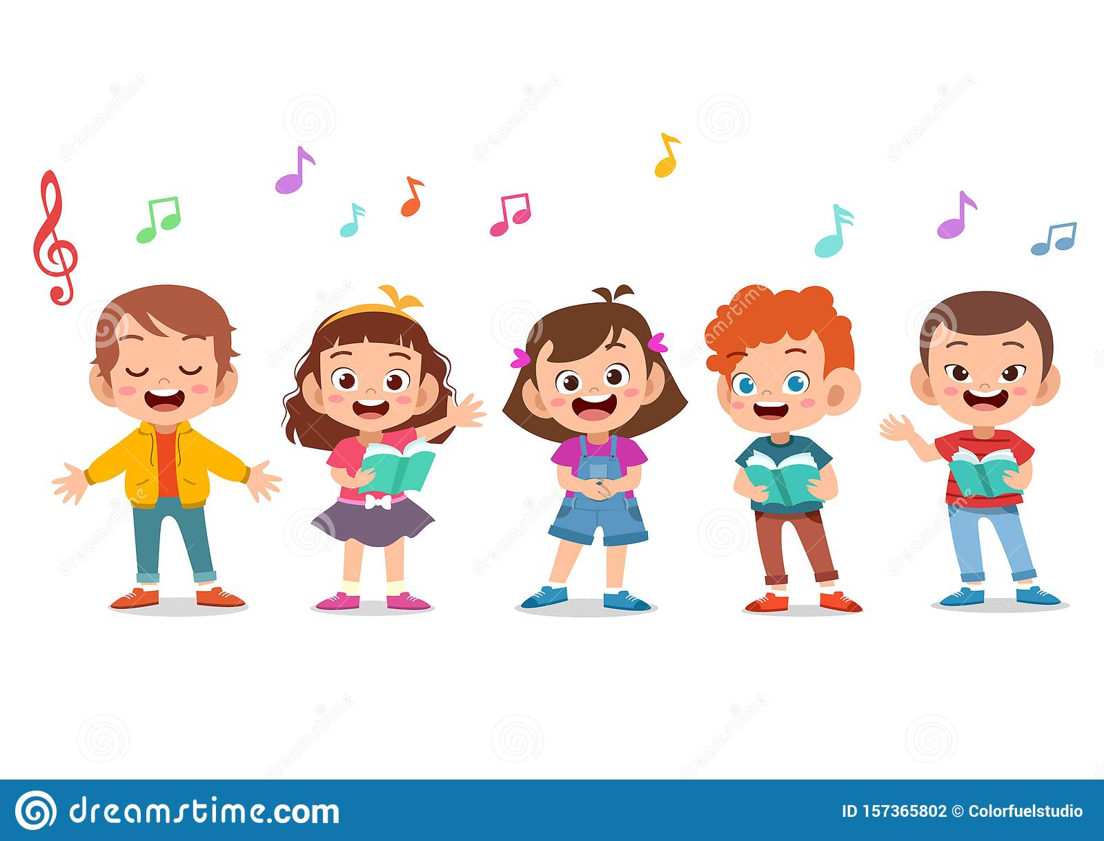 Group Of Children Singing Christmas Carols Stock Illustration - Download  Image Now - iStock