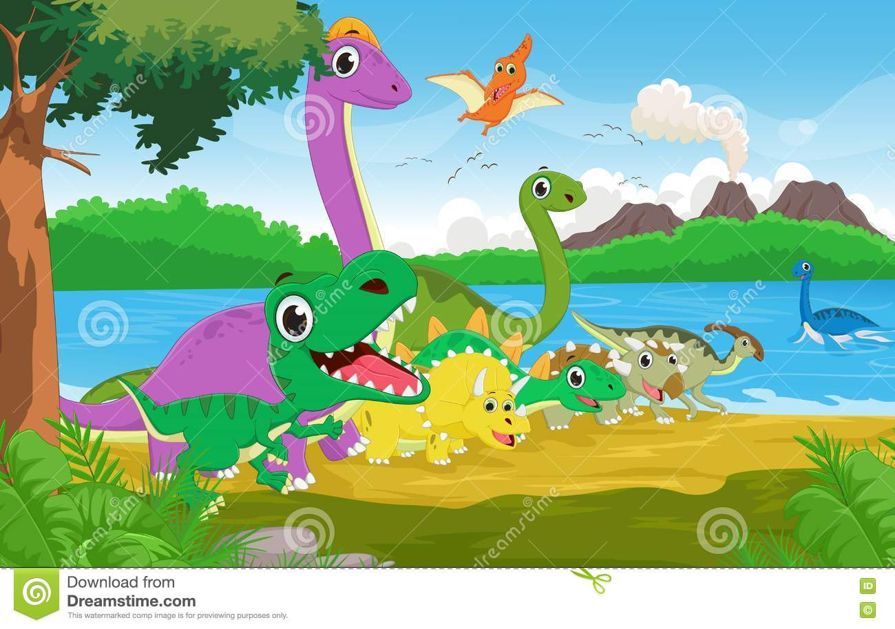 Cartoon Group Of Dinosaur With The Prehistoric Background ...