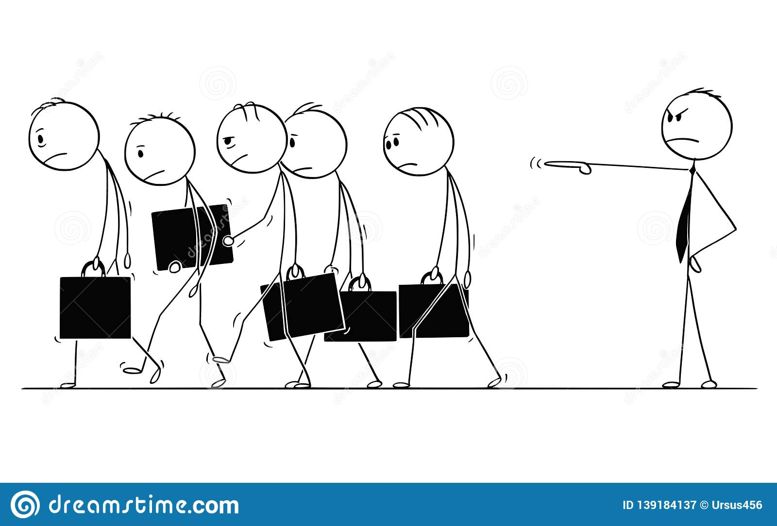 Cartoon of group of sad and depressed businessmen or