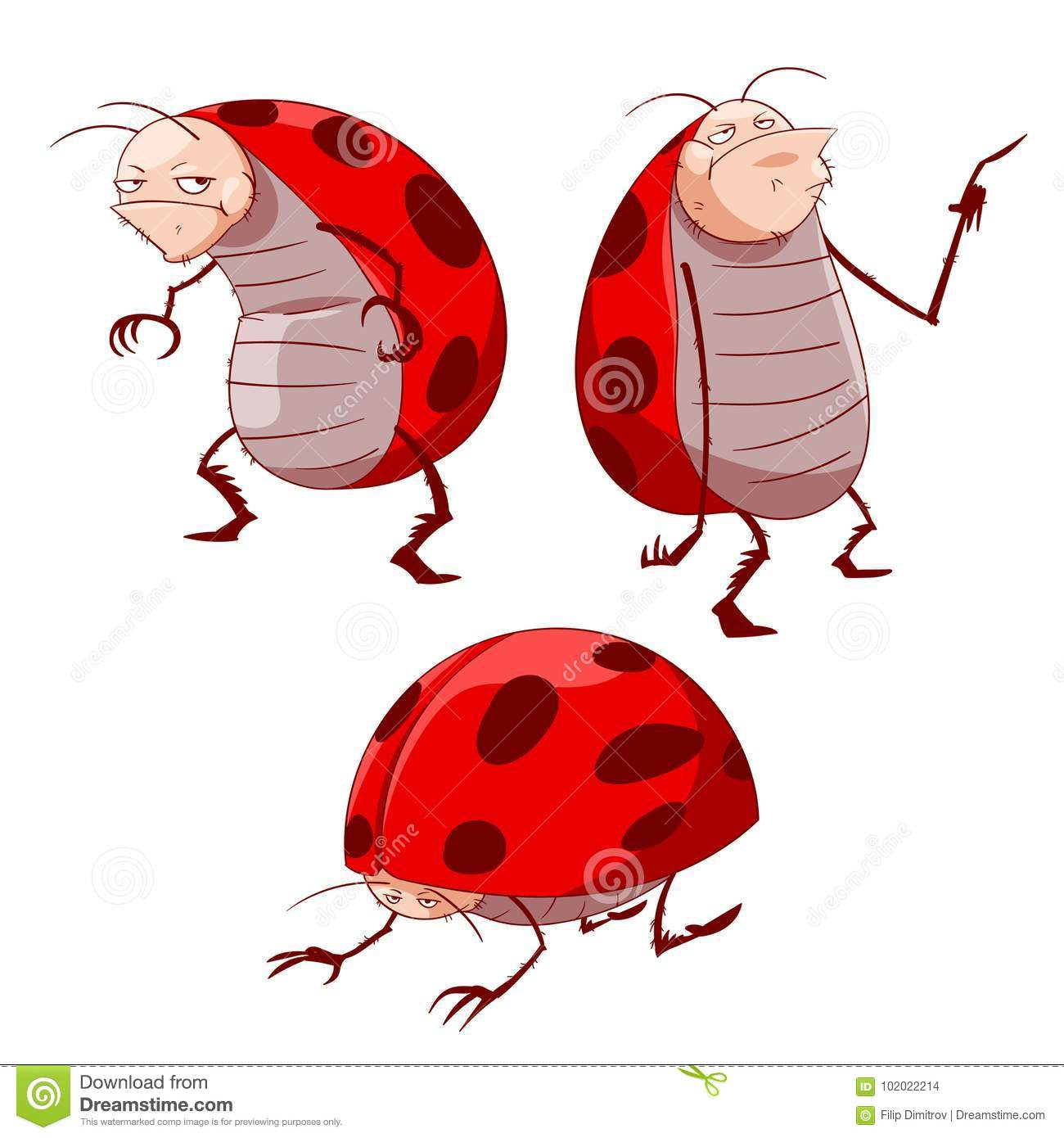 cartoon grumpy ladybugs stock vector illustration of insect 102022214