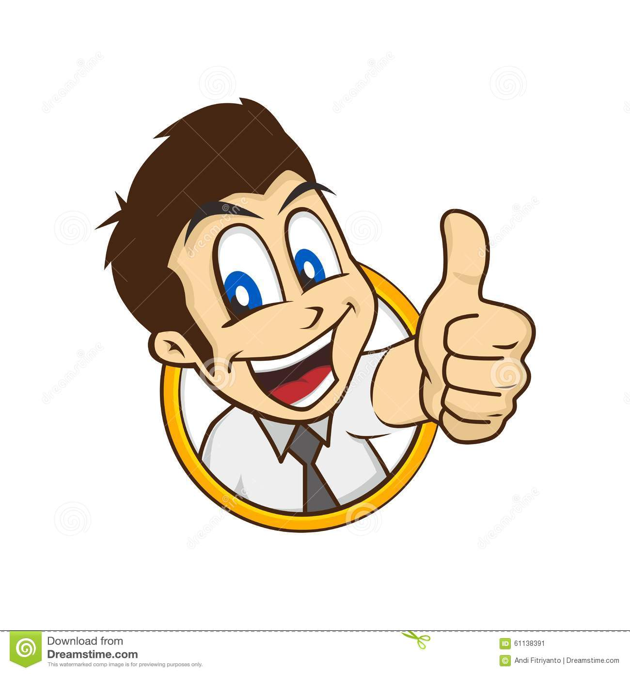 Cartoon guy thumbs up stock vector. Illustration of hyper ...