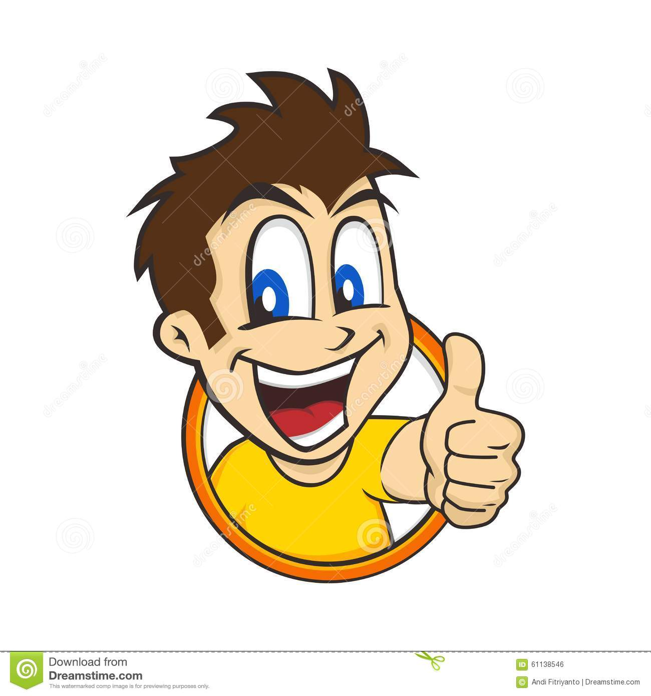 Cartoon Guy Thumbs Up Stock Vector - Image: 61138546