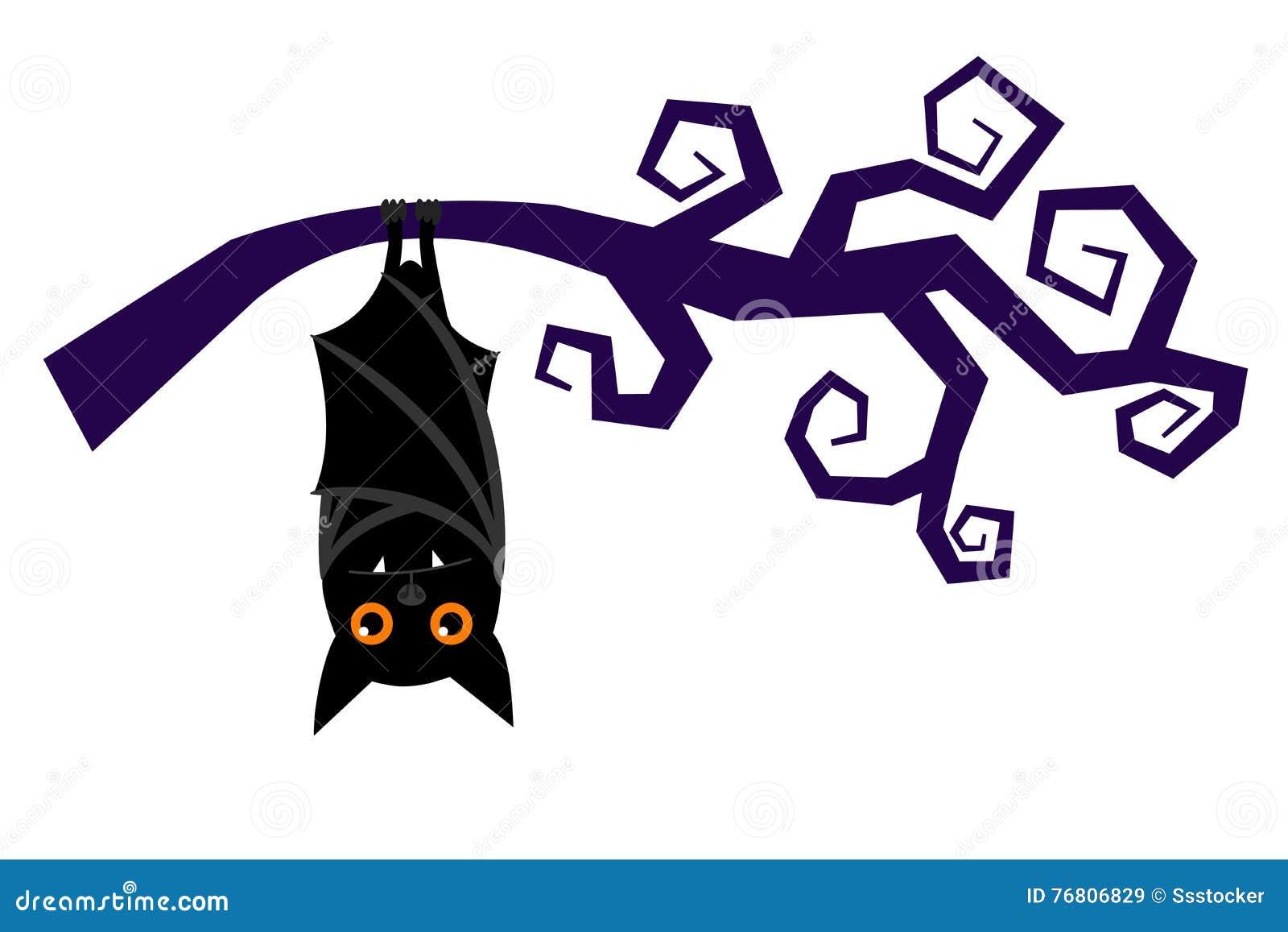 cartoon halloween bat hanging on tree branch vector stock vector
