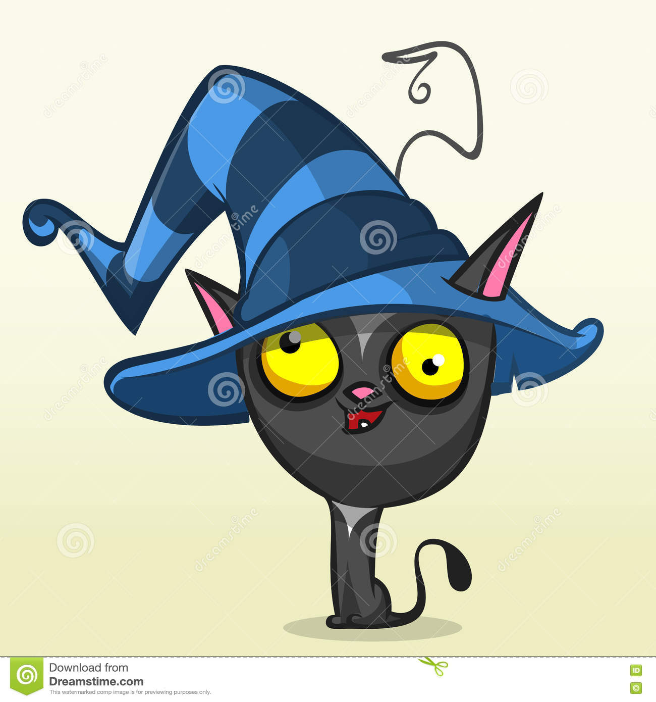 344e2fd8 Cartoon Halloween Black Cat In Witch Hat. Vector Illustration Stock ...