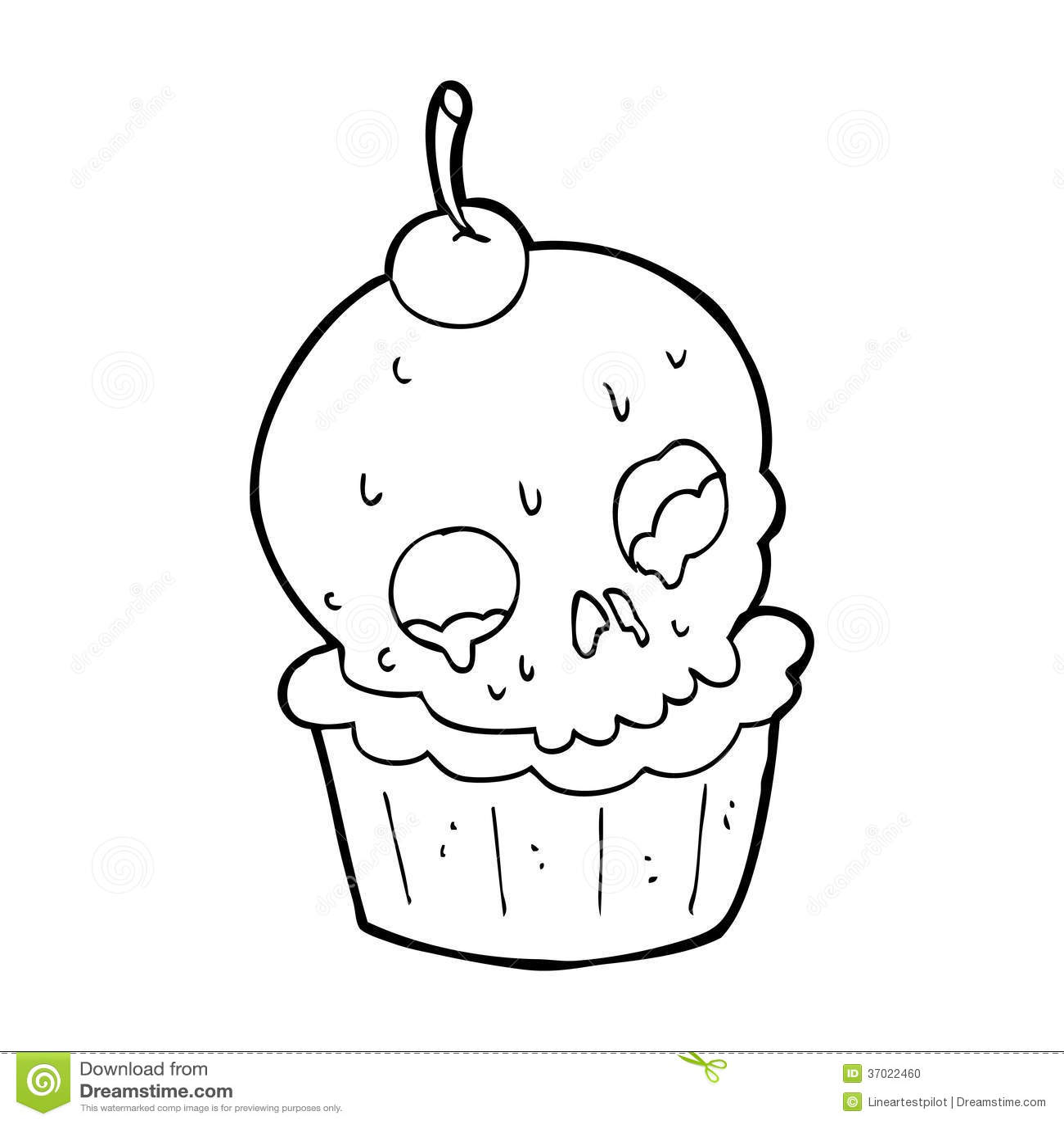 Cartoon halloween cup cake stock illustration. Image of ...