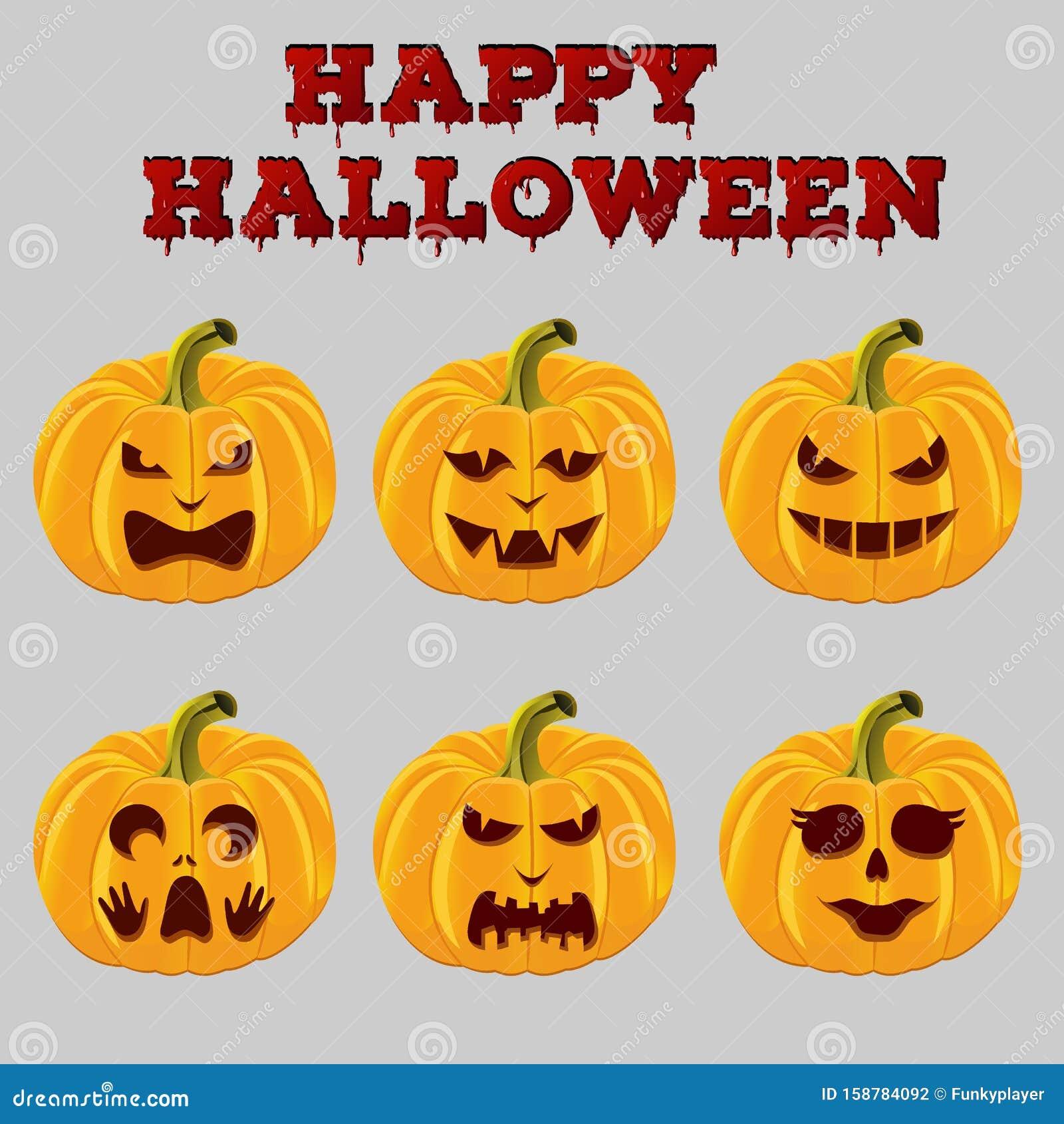 Cartoon Halloween Holiday Pumpkins. Jack O Lanterns Carved