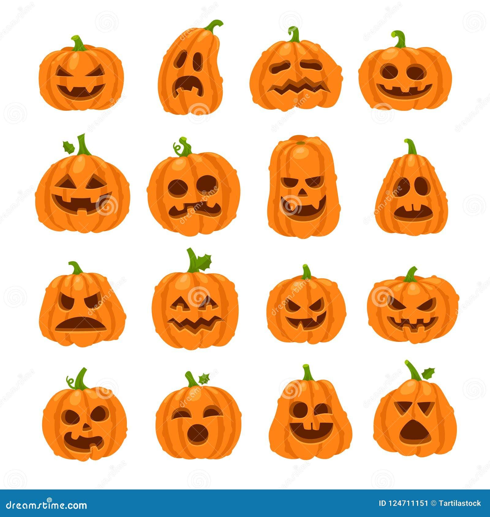 Cartoon Halloween Pumpkin Orange Pumpkins With Carving