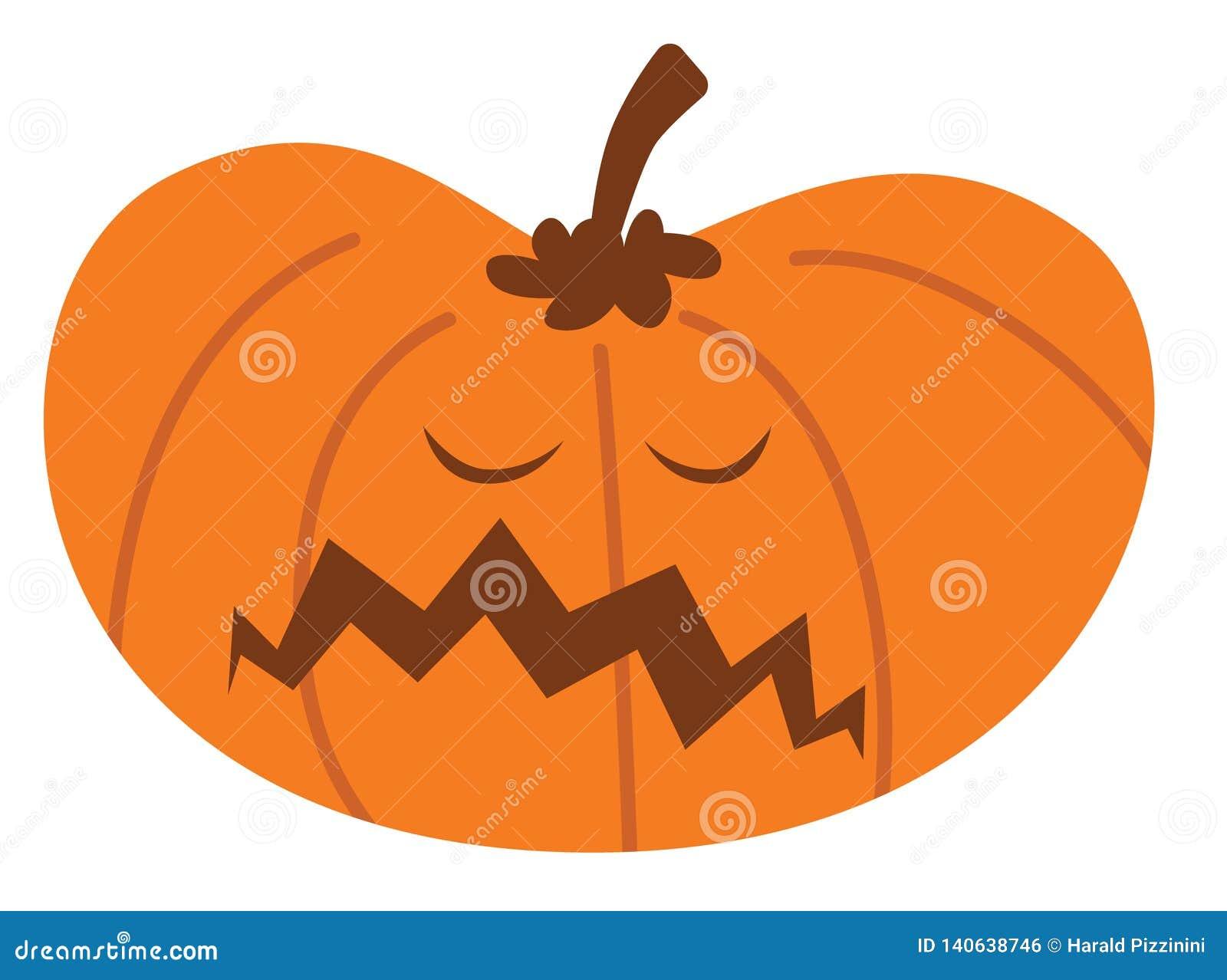 Cartoon halloween pumpkin with unhappy expression