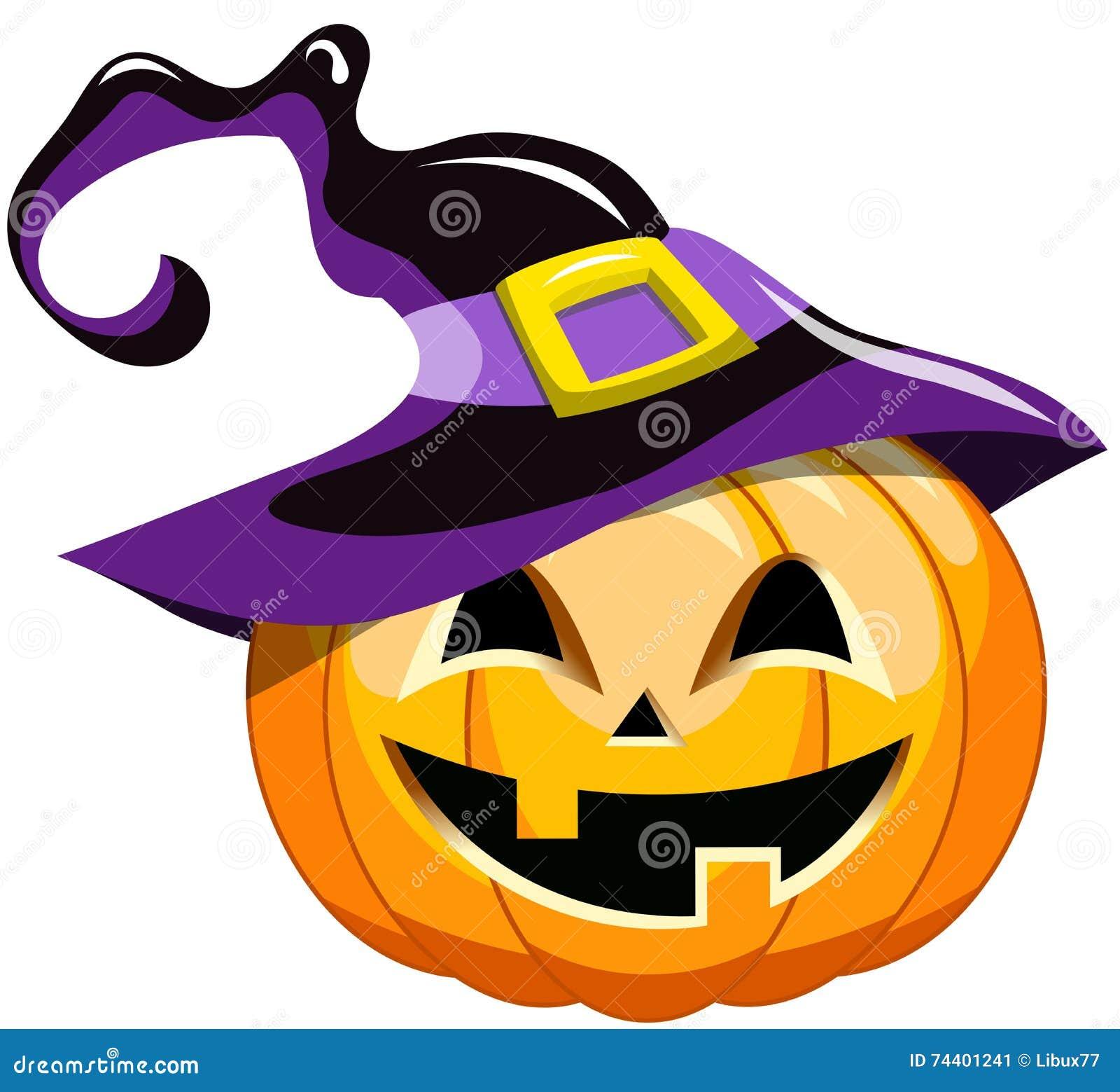 cartoon halloween pumpkin witch hat stock image - Halloween Witch Cartoon