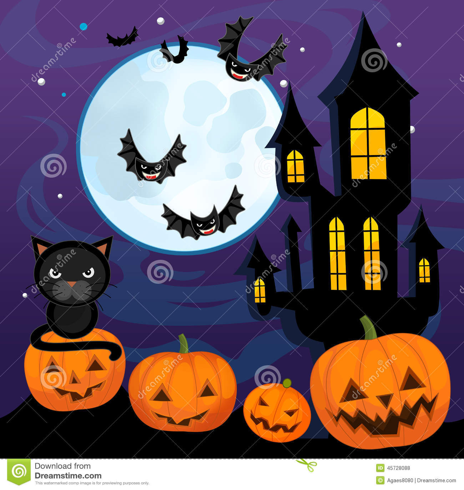 Cartoon Halloween Scene - Pumpkins By Night Stock Illustration ...