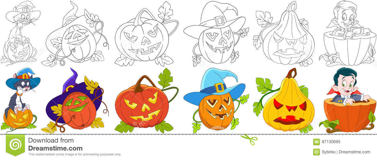Cat In A Hat Sitting On Gourd Four Carving Pumpkins With Different Emotions Little Boy In A Costume Of Vampire Dracula Coloring Book Pages For Kids