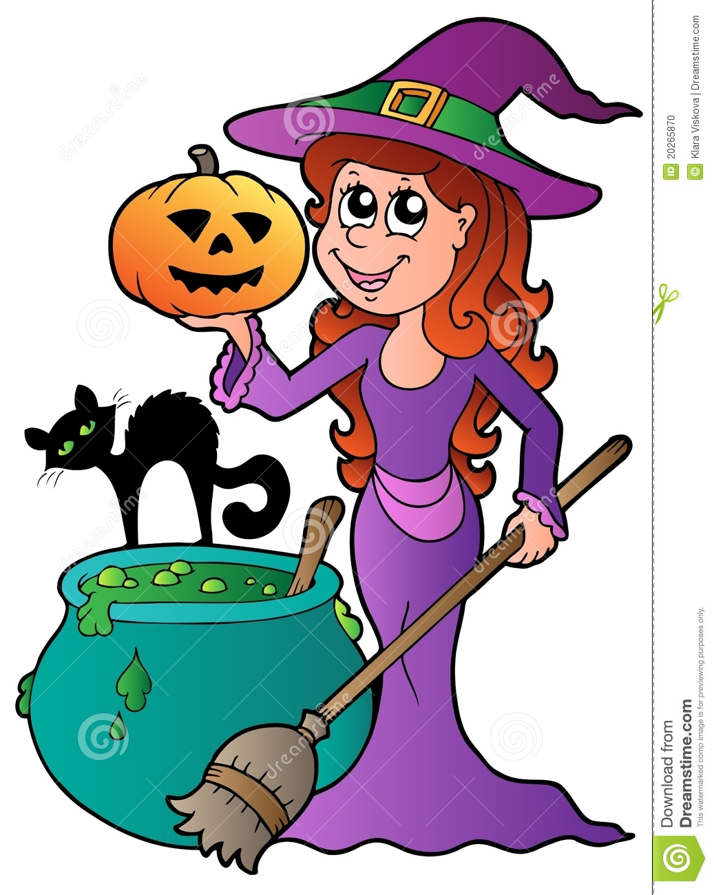 Cartoon halloween witch with cat stock vector image - Clipart bricolage ...