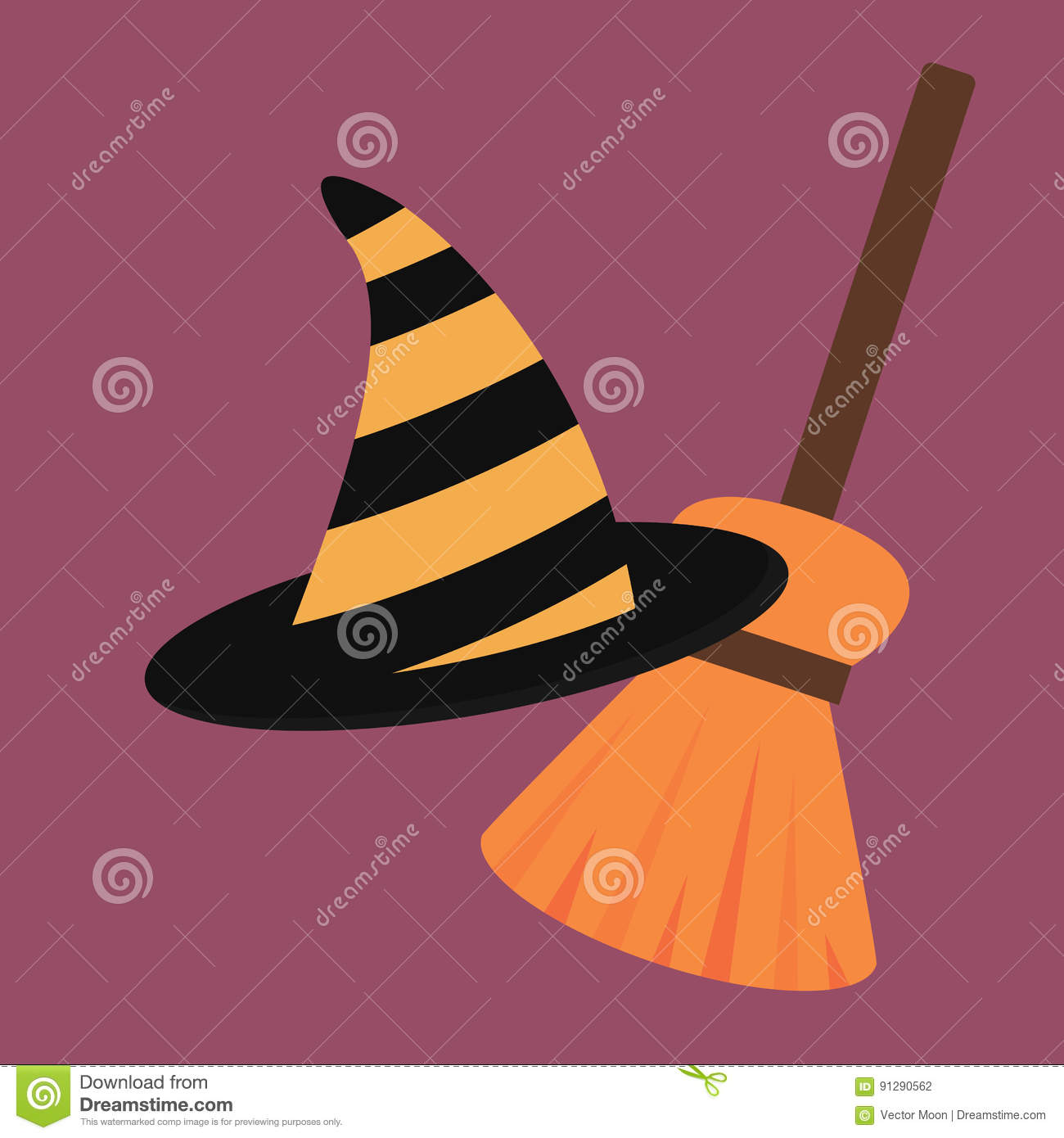 cartoon halloween witch hat antasy scary witchcraft traditional
