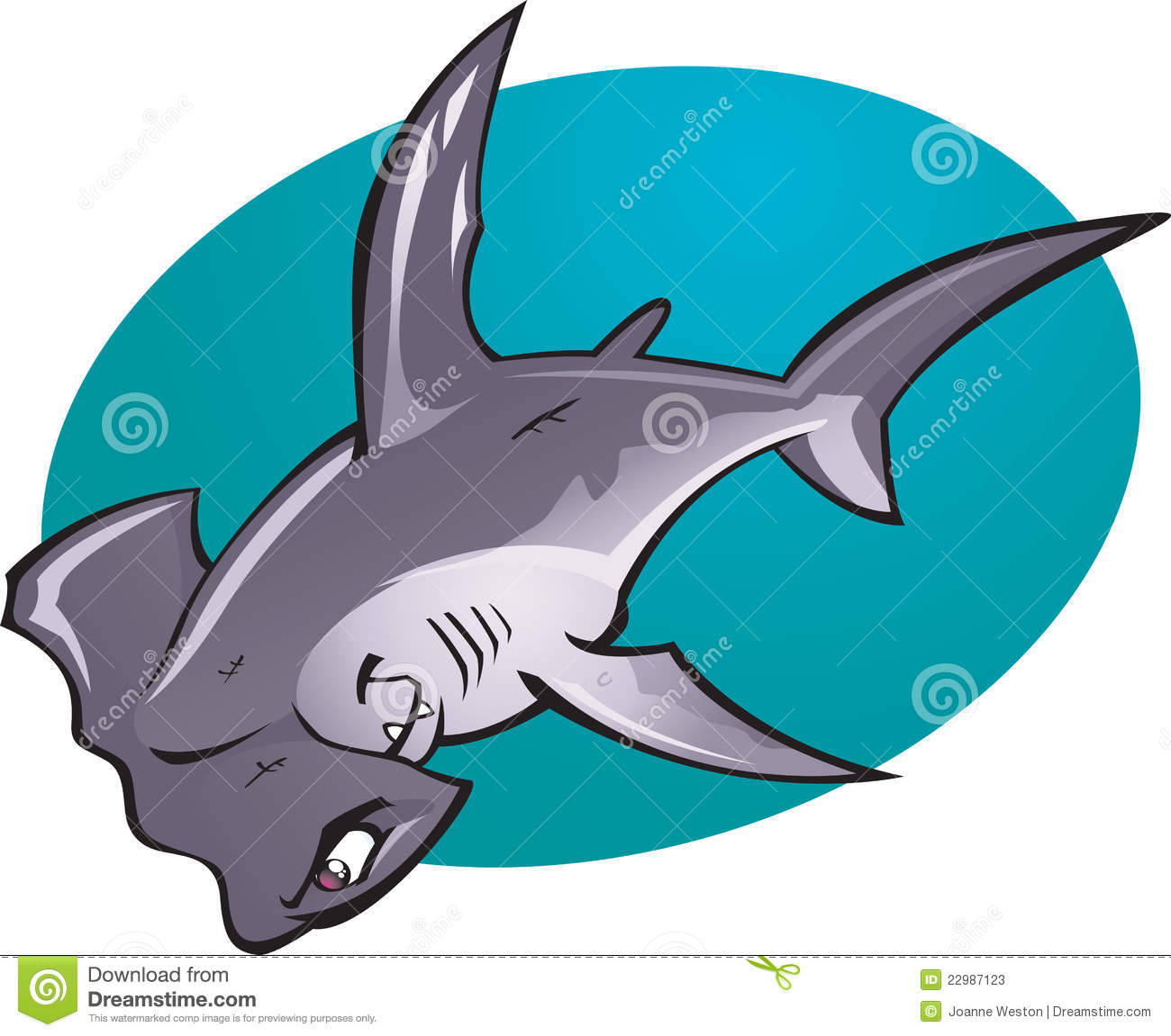 Cartoon Hammer head Shark stock illustration. Illustration ...