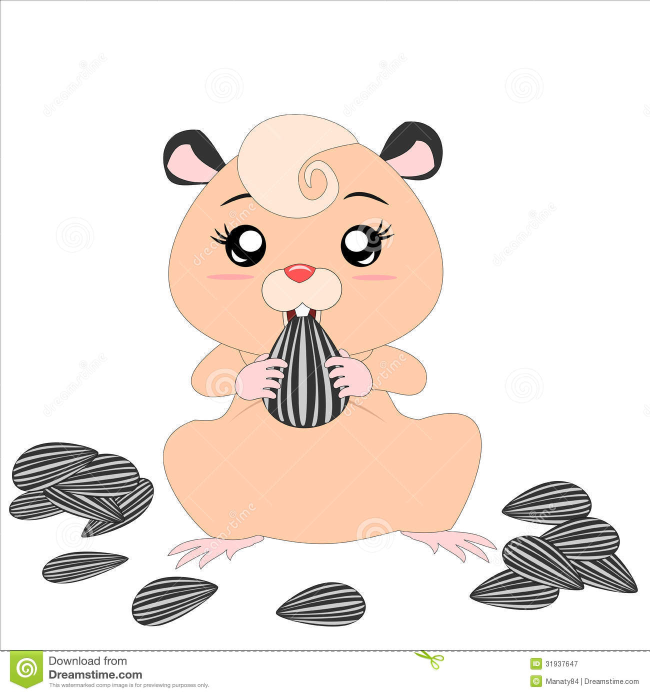 Cartoon Hamster With Food Royalty Free Stock Photography - Image ...