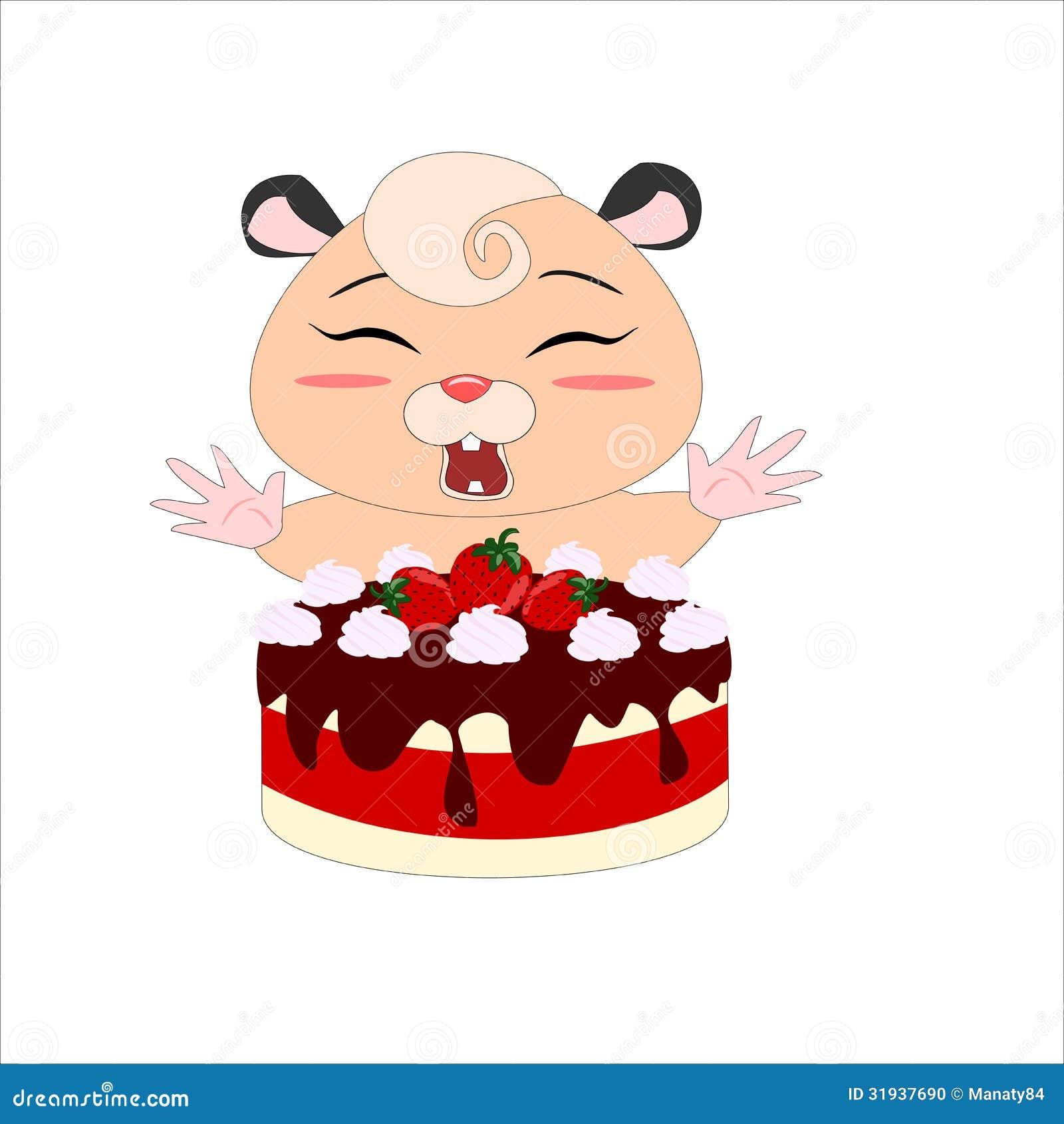 Strawberry Cake Cartoon Images : Cartoon Hamster With Strawberry Cake Stock Photo - Image ...