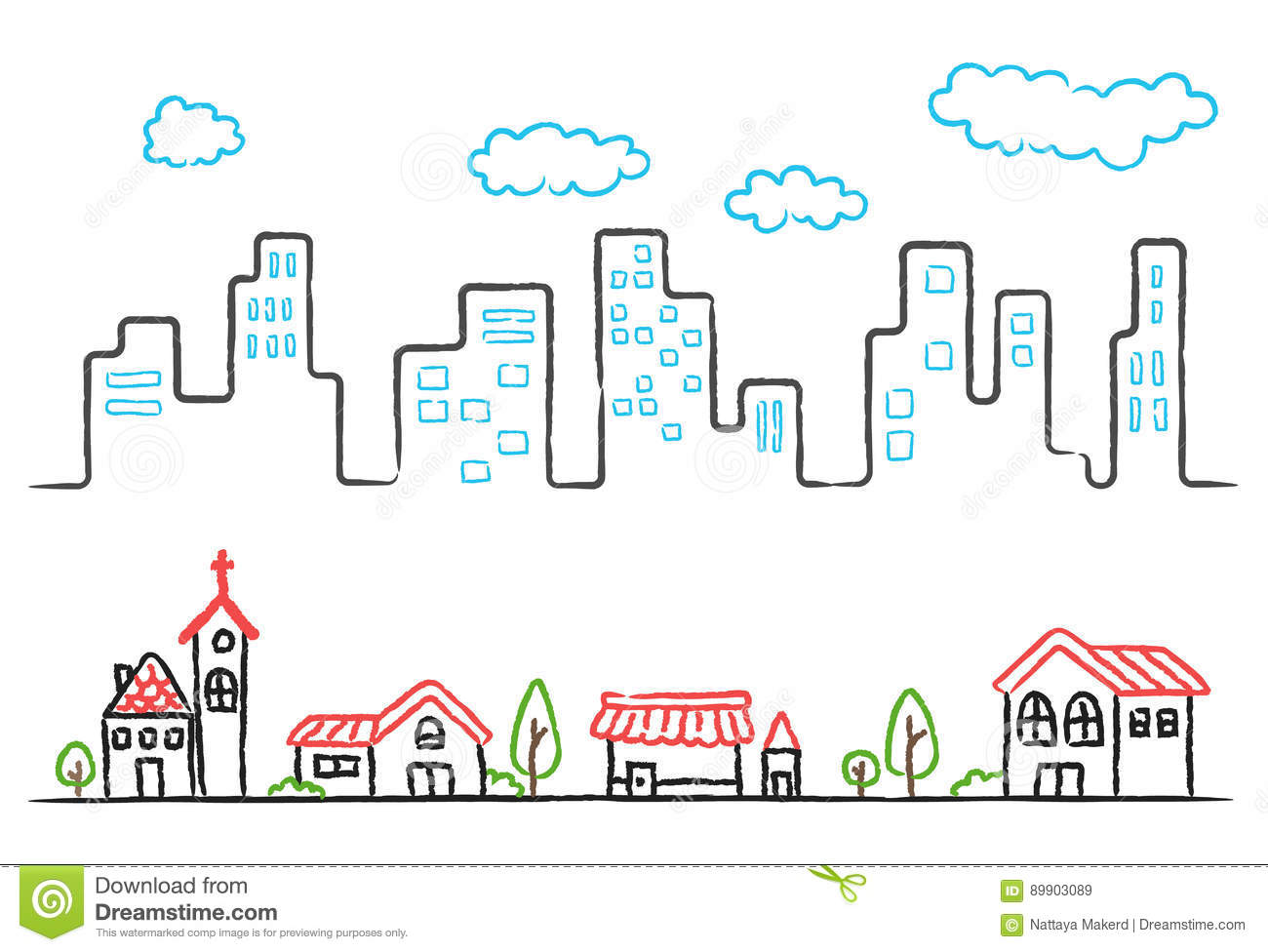 Cartoon Hand Drawing Of City Landscape And Small Town Stock Vector