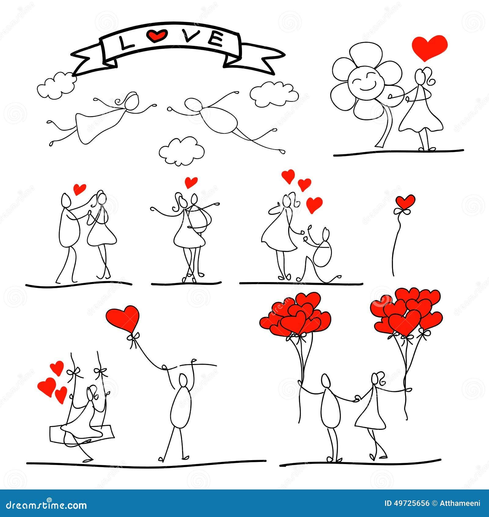 Cartoon Hand Drawn Abstract Love Character Stock Vector Image 49725656