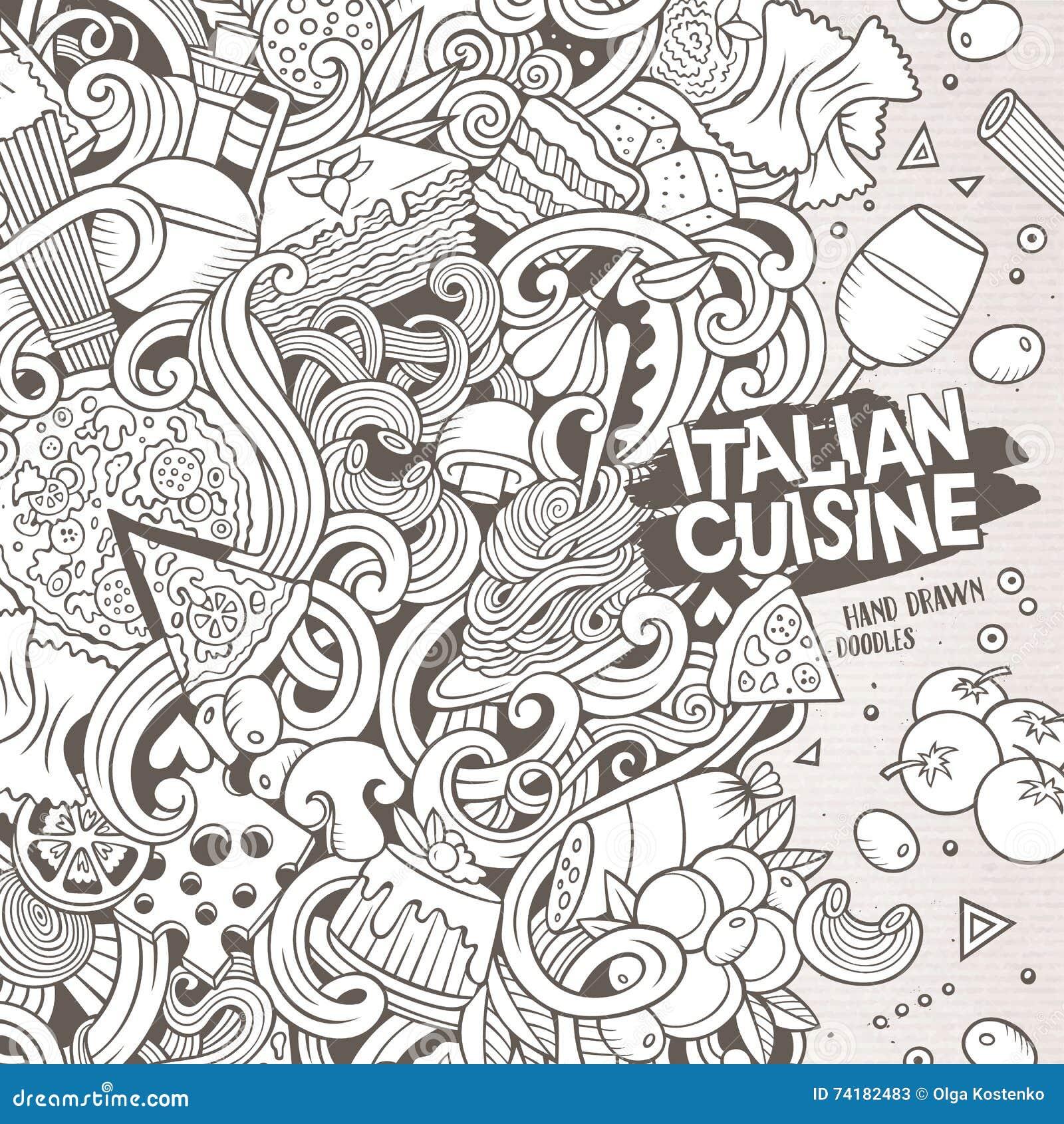 Line Art Food : Cartoon hand drawn doodles italian food illustration stock