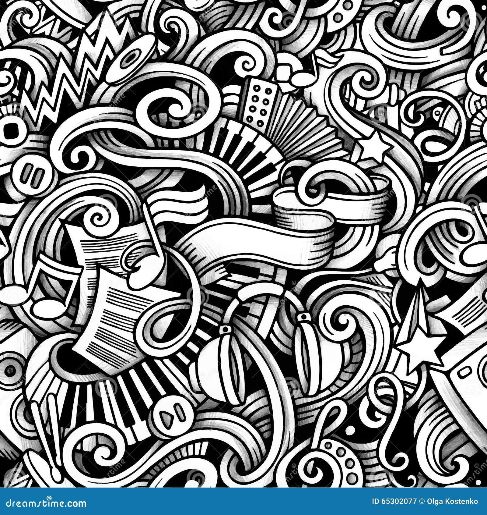 Cartoon Hand Drawn Doodles Music Seamless Pattern Stock