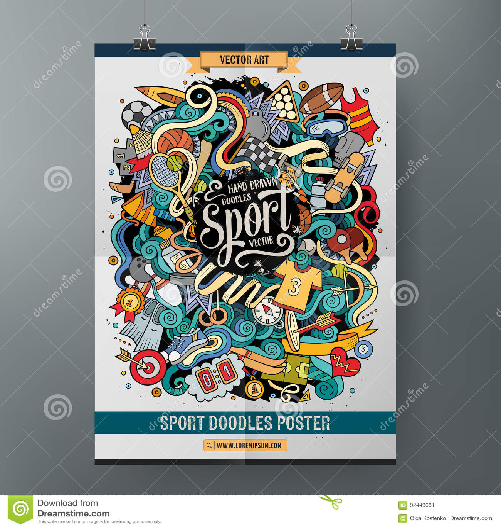 cartoon hand drawn doodles sport poster template stock vector