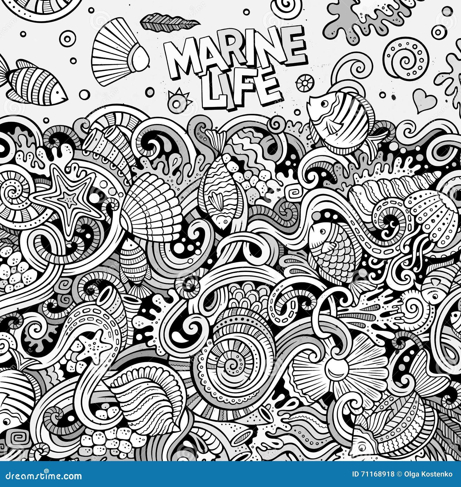 Line Art Underwater : Cartoon hand drawn doodles underwater life illustration