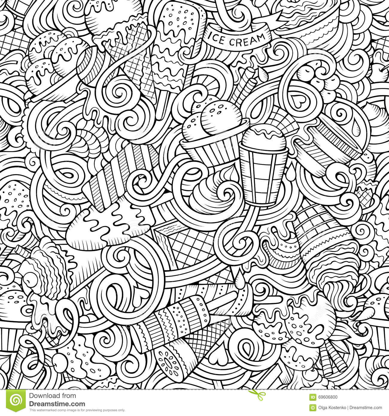 Seamless Pattern With Hand Drawn Watercolor Ice Cream: Cartoon Hand-drawn Ice Cream Doodles Seamless Pattern