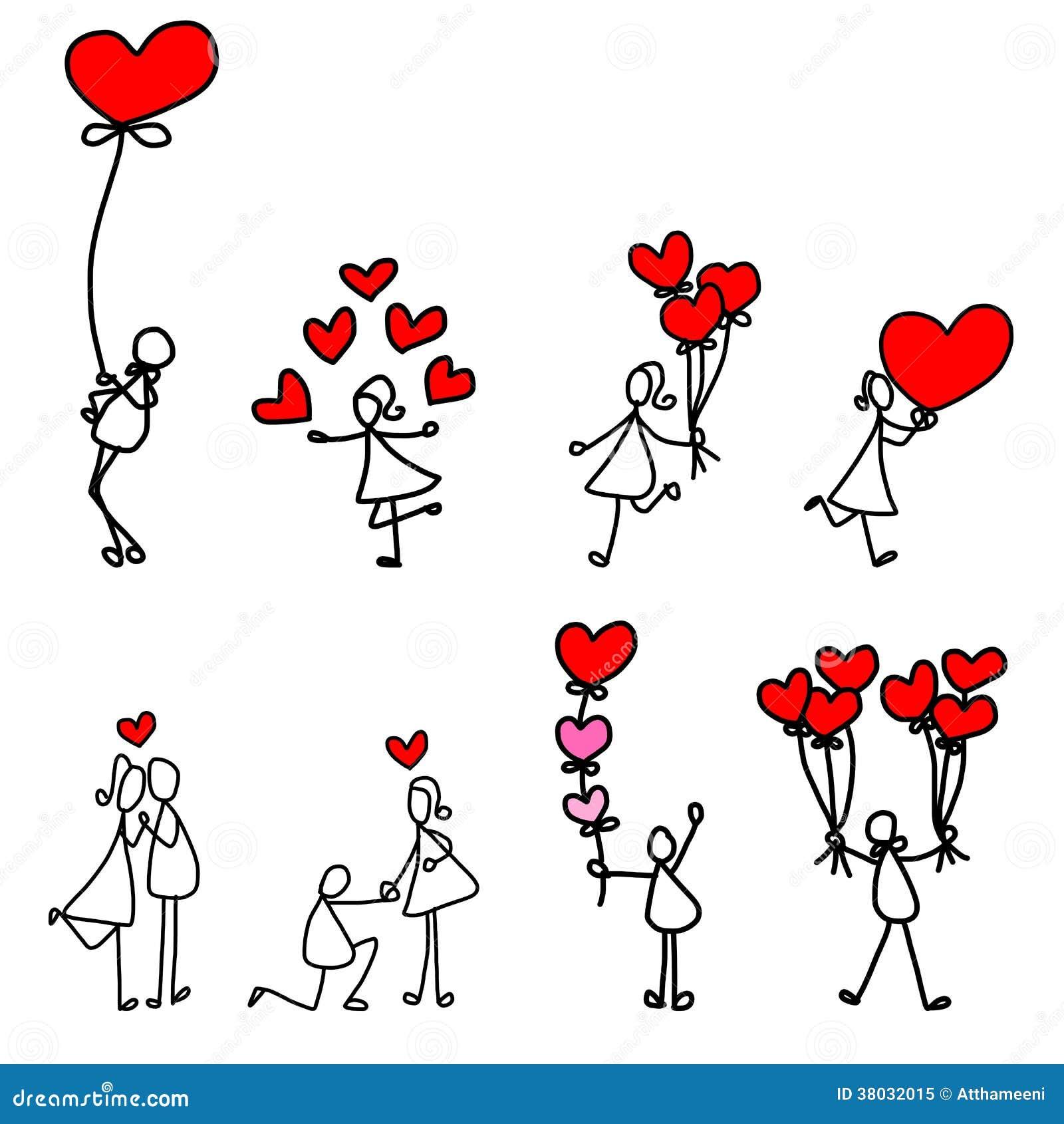 Cartoon hand drawn love