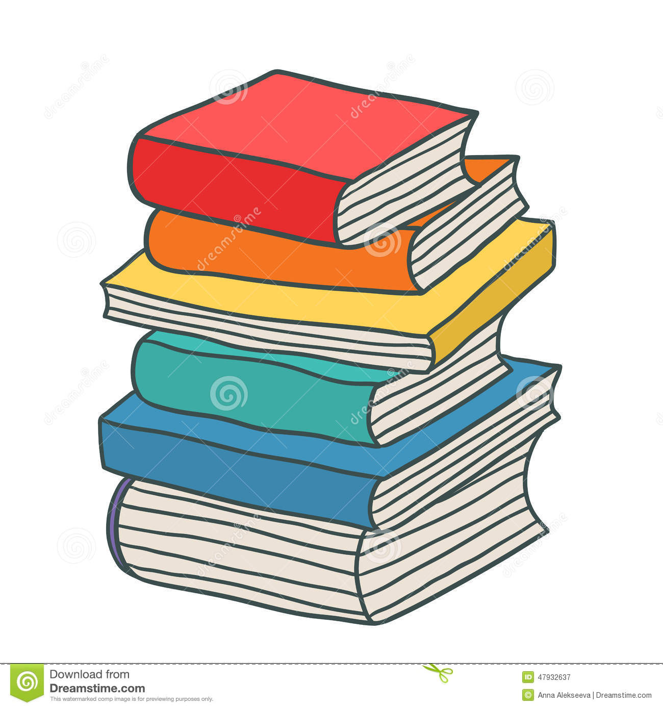 cartoon books stack drawn hand vector illustration background card dreamstime preview