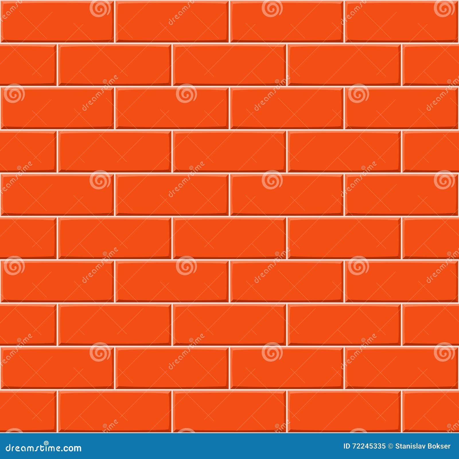 Cartoon Hand Drown Orange Seamless Brick Wall Texture