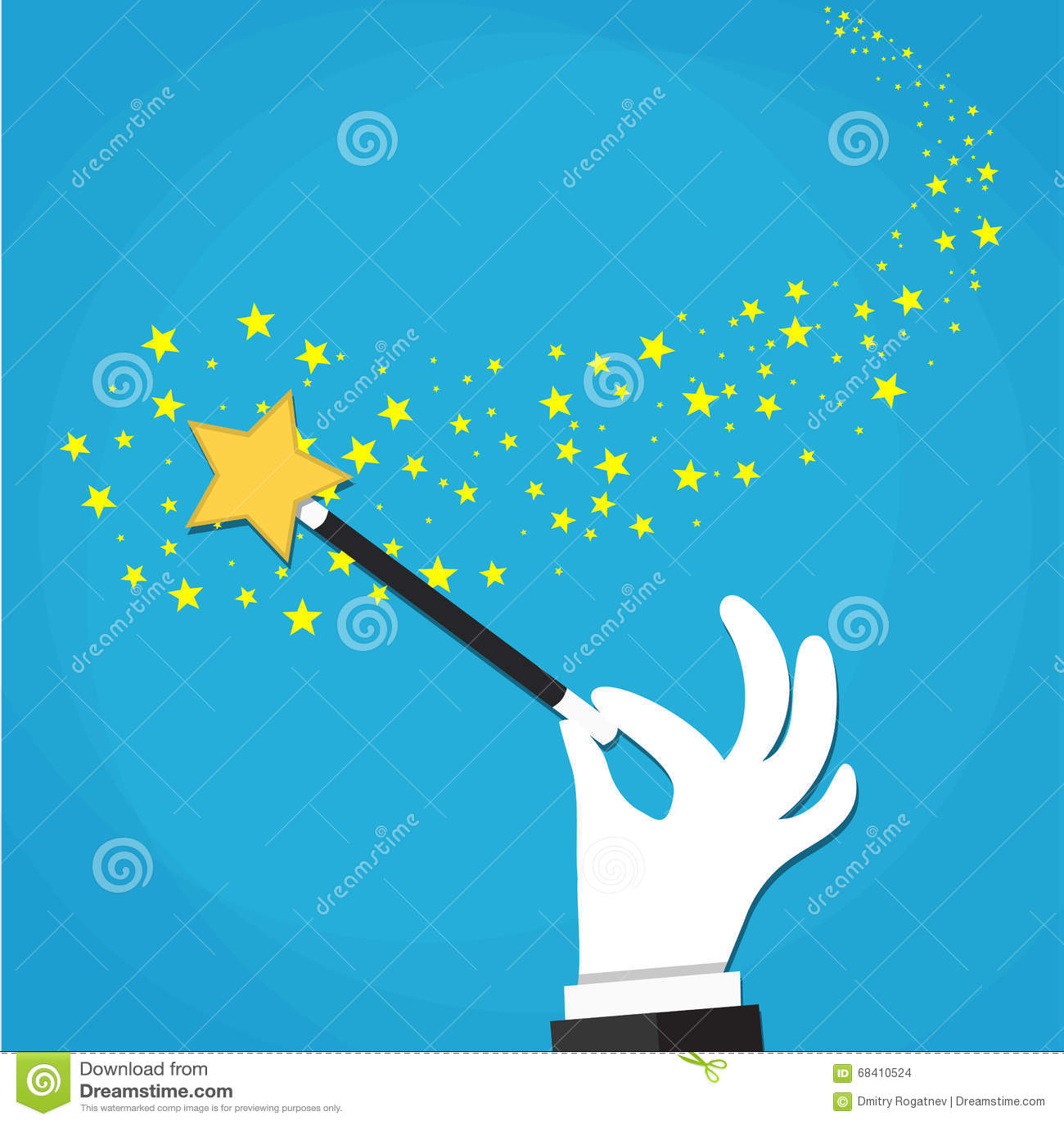 Cartoon Hand Hold Magic Wand With Stars Sparks. Stock Vector ...