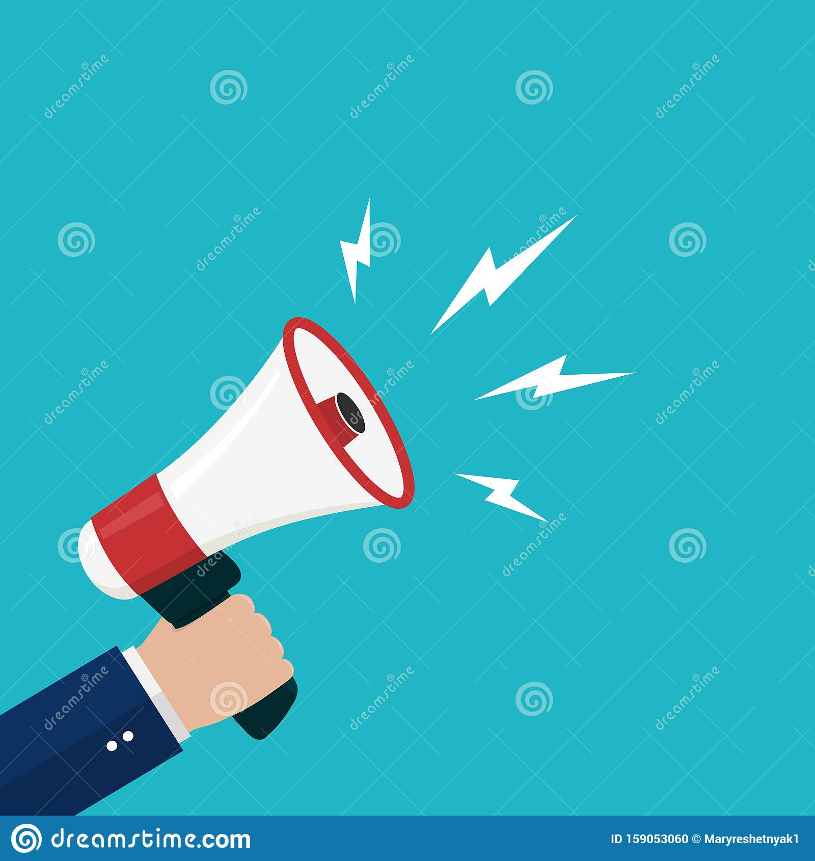 Cartoon hand holding loudspeaker, loud voice horn, megaphone.Flat banner with person shout message.Sound from megaphone for social