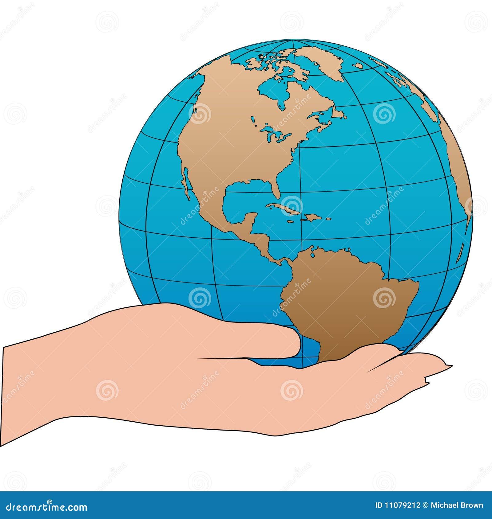 Cartoon Hand Holds A Western Hemisphere Globe Stock ...