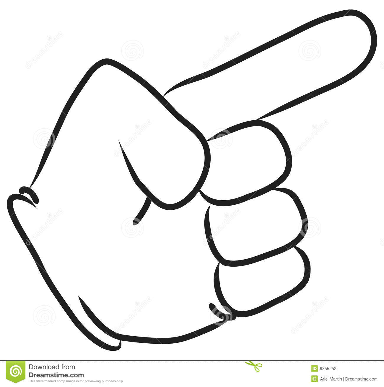 Cartoon hand pointing with the index finger  Outline in black  Vector Cartoon Hand Pointing Up