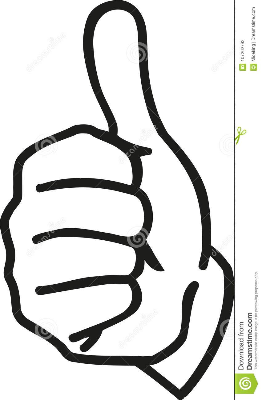 Cartoon hand with thumbs up